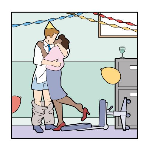 办公室聚会接吻研究杂志的插图