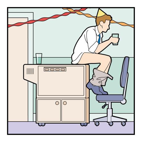 方餐讽刺矢量办公室聚会图形