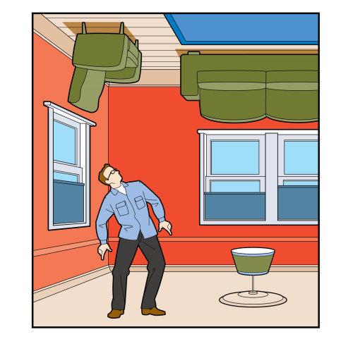 Humorous illustration of upside down room