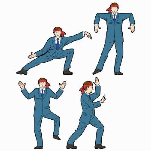 Graphic design of businessman doing karate