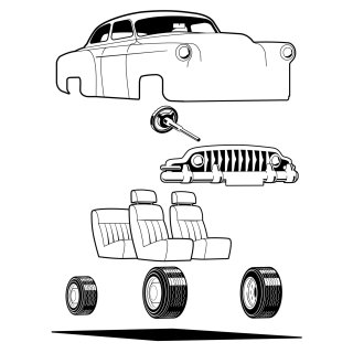 Black & white diagram of car body parts