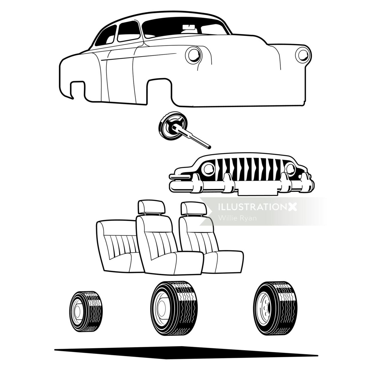 Black & white diagram of car body parts