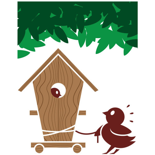 Children's book illustration of bird house
