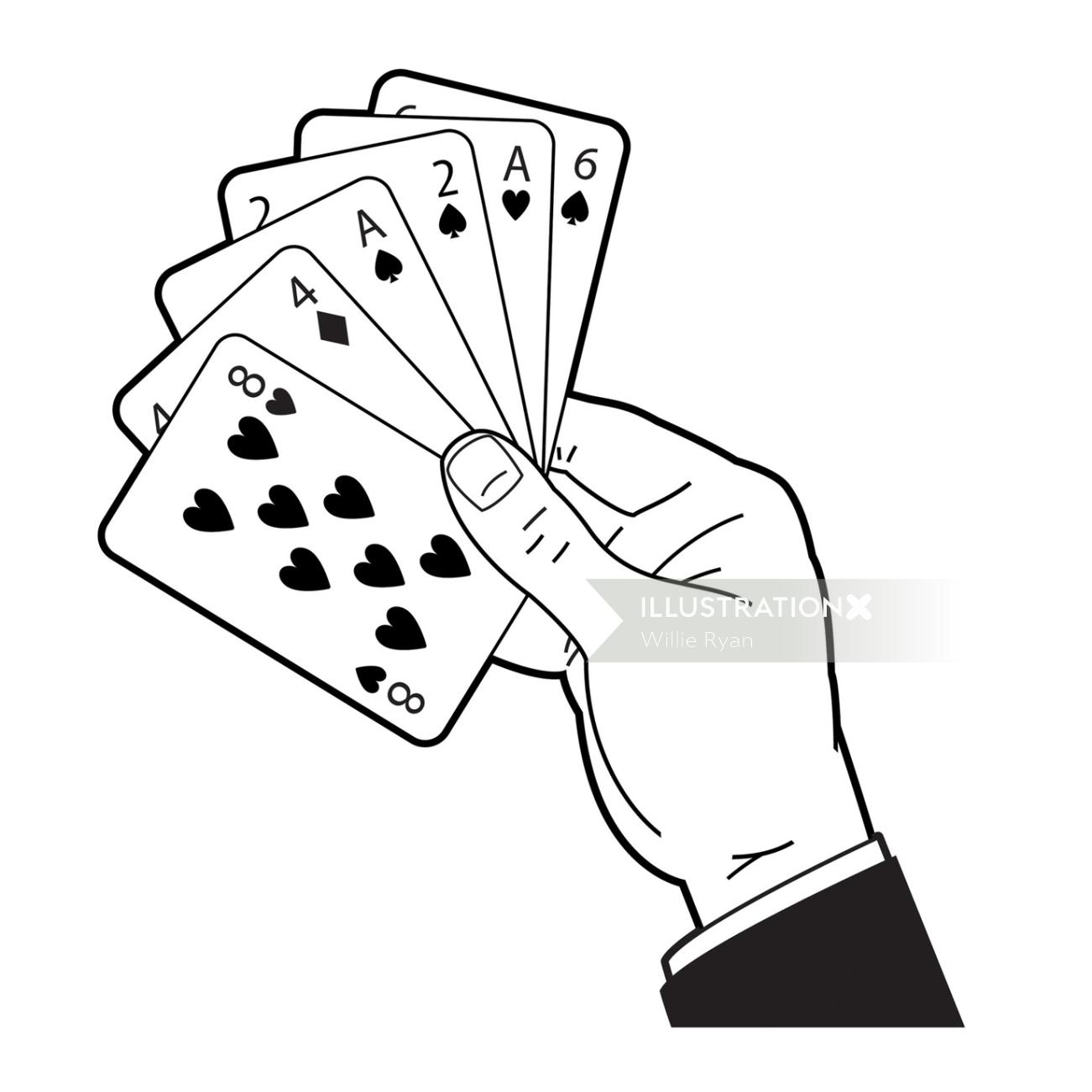 Willie,Ryan,illustrator,illustration,graphic,children's book, hand of cards, black and white,trick,g