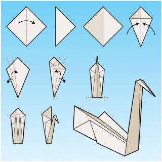 Children illustration of origami swan instructions