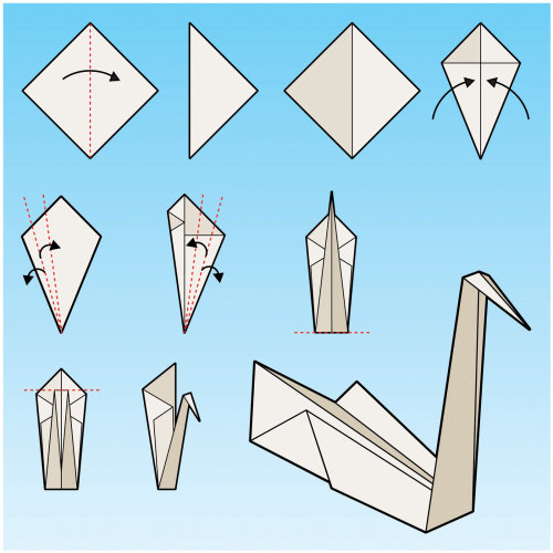 Illustrative instructions for making a paper origami swan