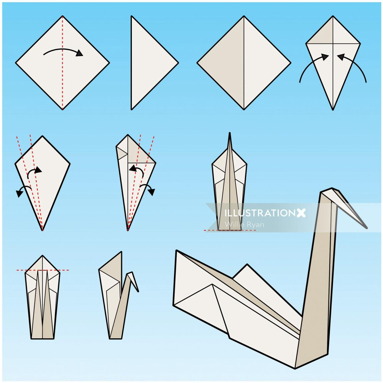 Children illustration of origami swan instructions