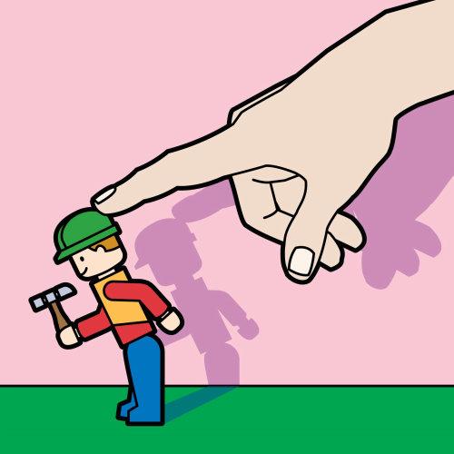 手推乐高玩具概念向量