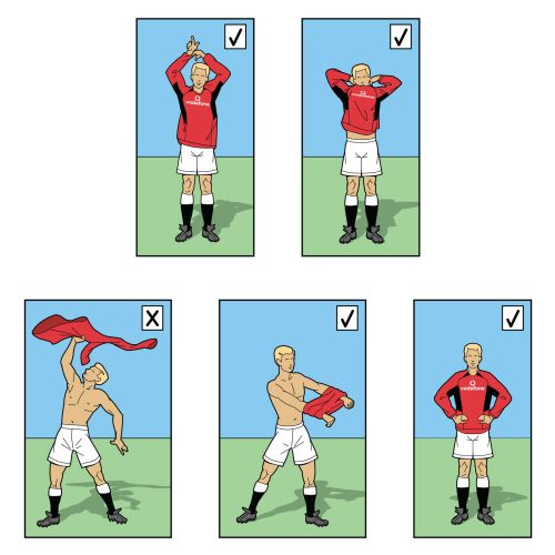 Footballer removing t-shirt humorous illustration