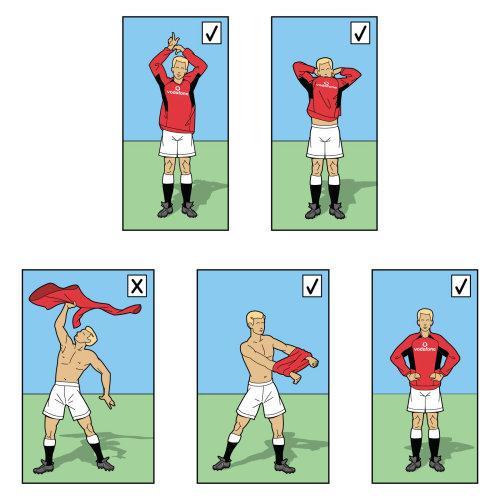 Footballer removing t-shirt humorous illustration
