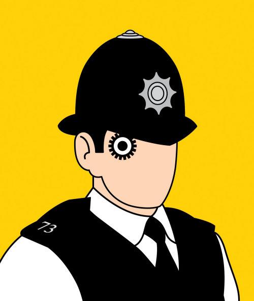 Police portrait digital vector communication
