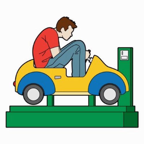微型投币式汽车图形中的微型驾驶员