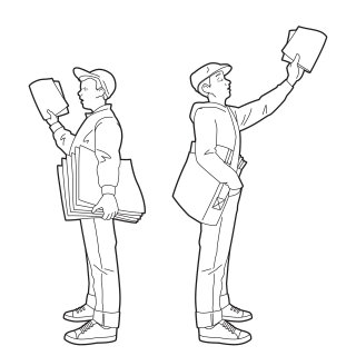 Line drawing of paper boys