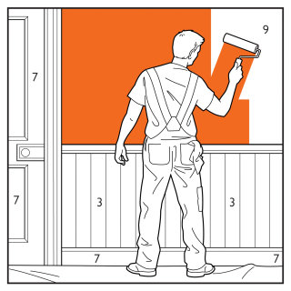 Man painting a house illustration by Willie Ryan