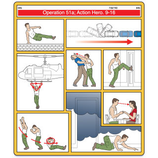 Drawings of action hero airplane safety instructions