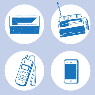 Evolution of the mobile phone vector art