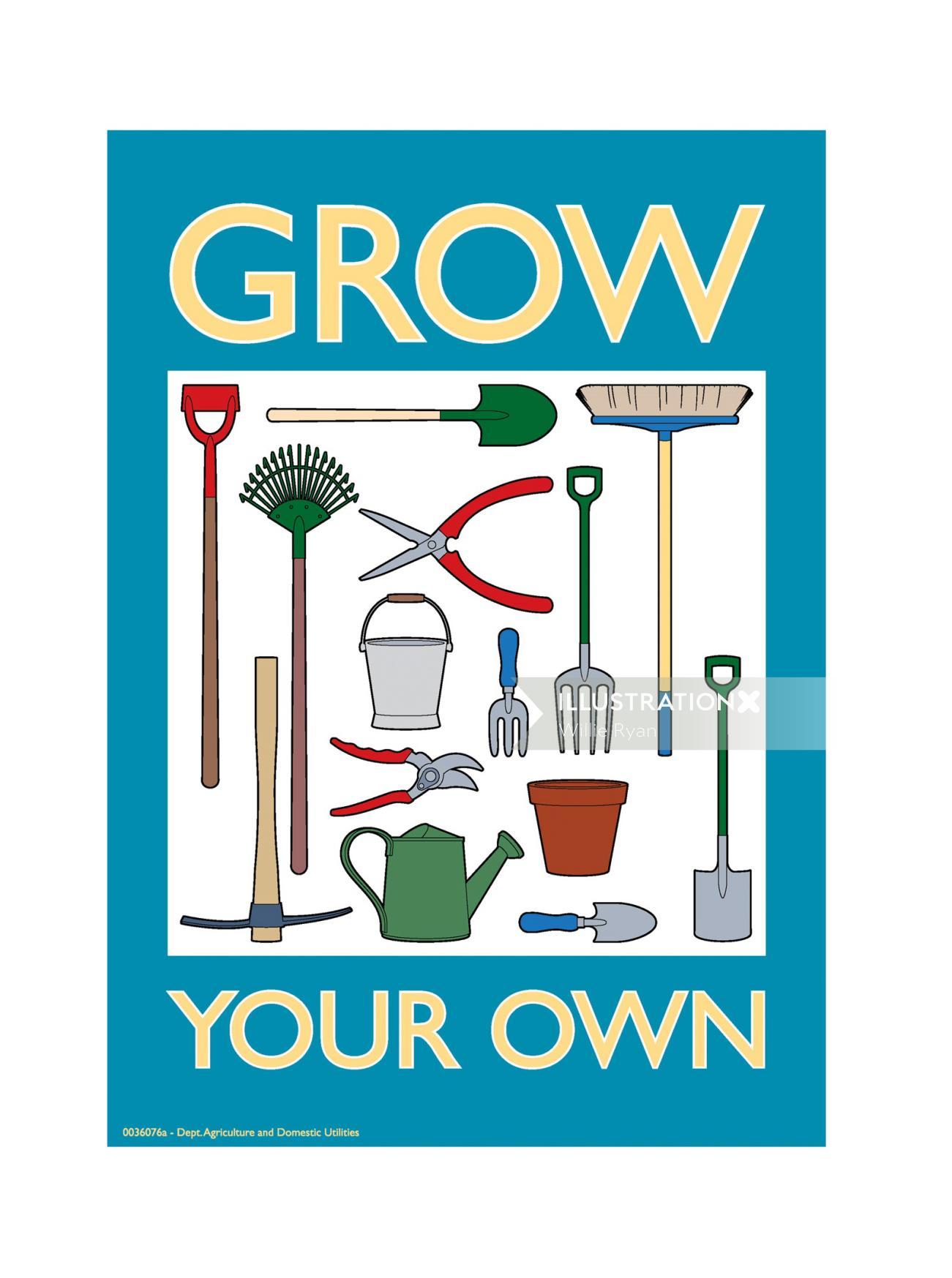 Gardening tools illustration by Willie Ryan
