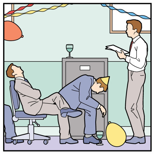 Man Speech in a office party illustration by Willie Ryan