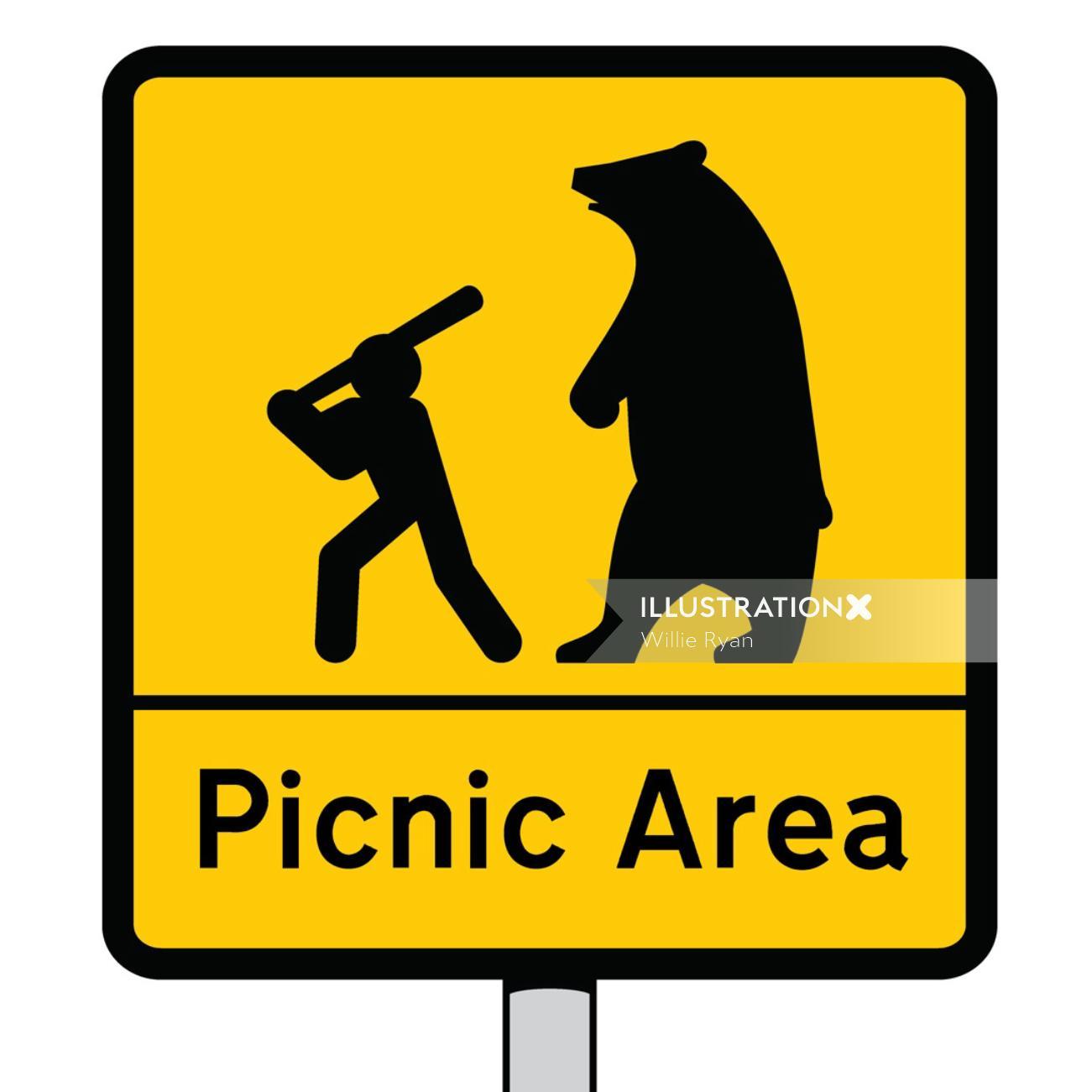Stickman and Bear Vector icon