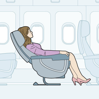 Vector illustration of woman seated in flight