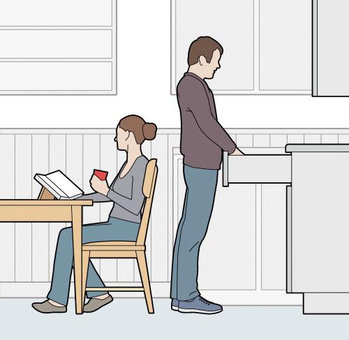 房子和花园夫妇在厨房数字矢量