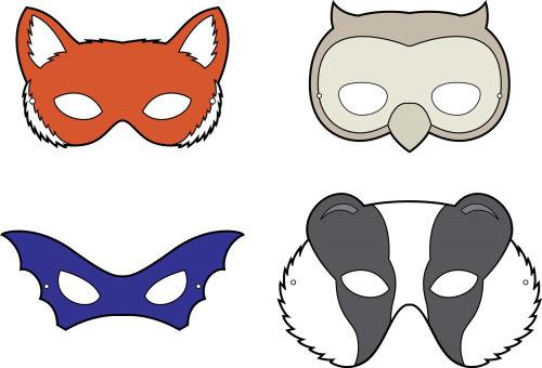 Children's book illustration of animal masks