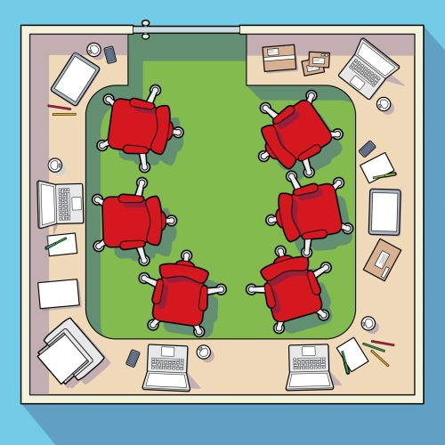 Aerial view of office seating vector illustration