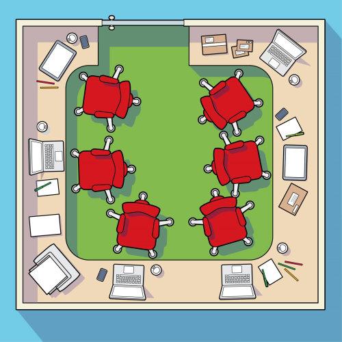 办公室座位矢量图的鸟瞰图