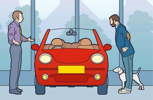 周日时代汽车业务员和客户图形