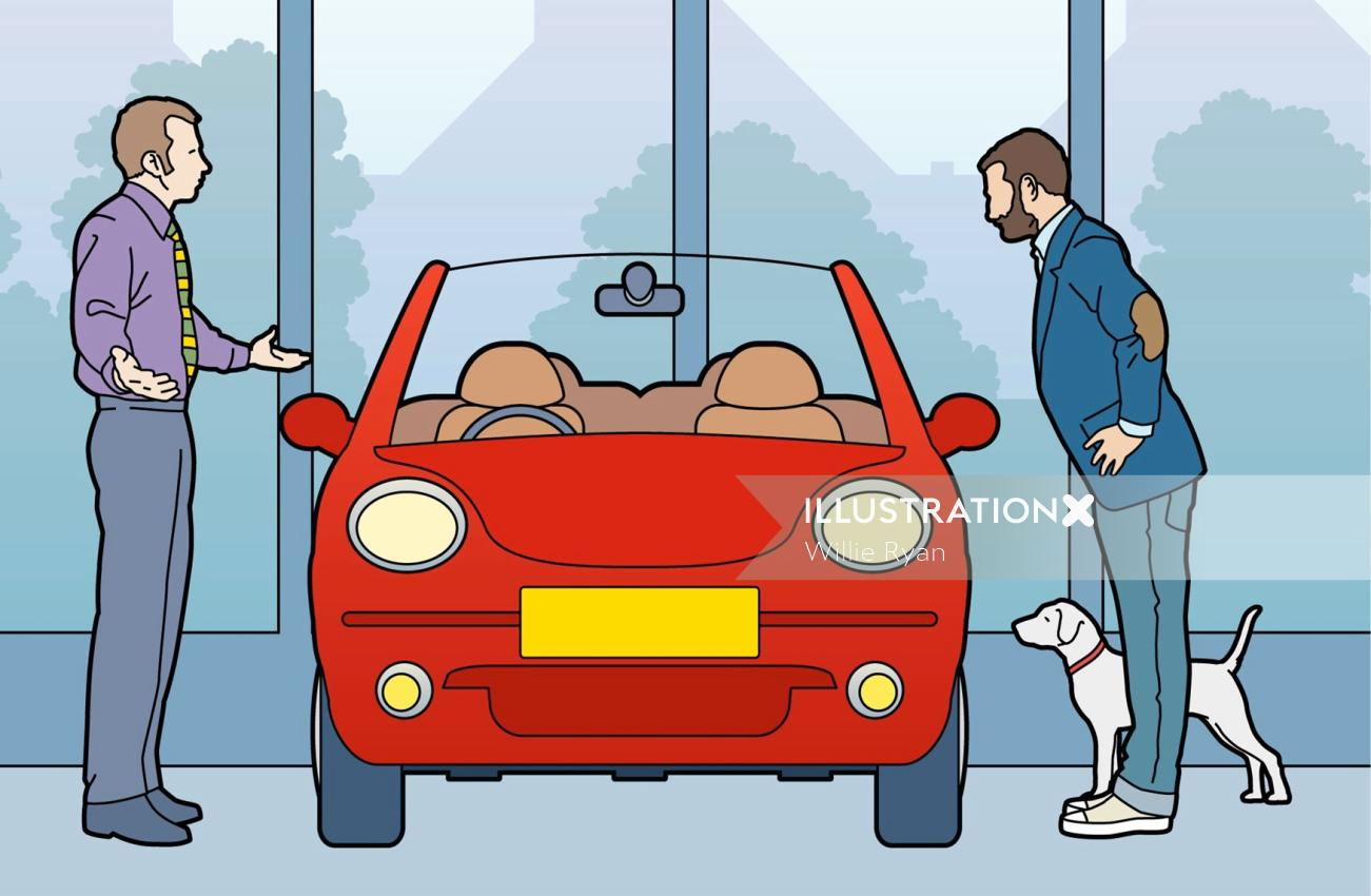 Sunday times car salesman and customer graphic