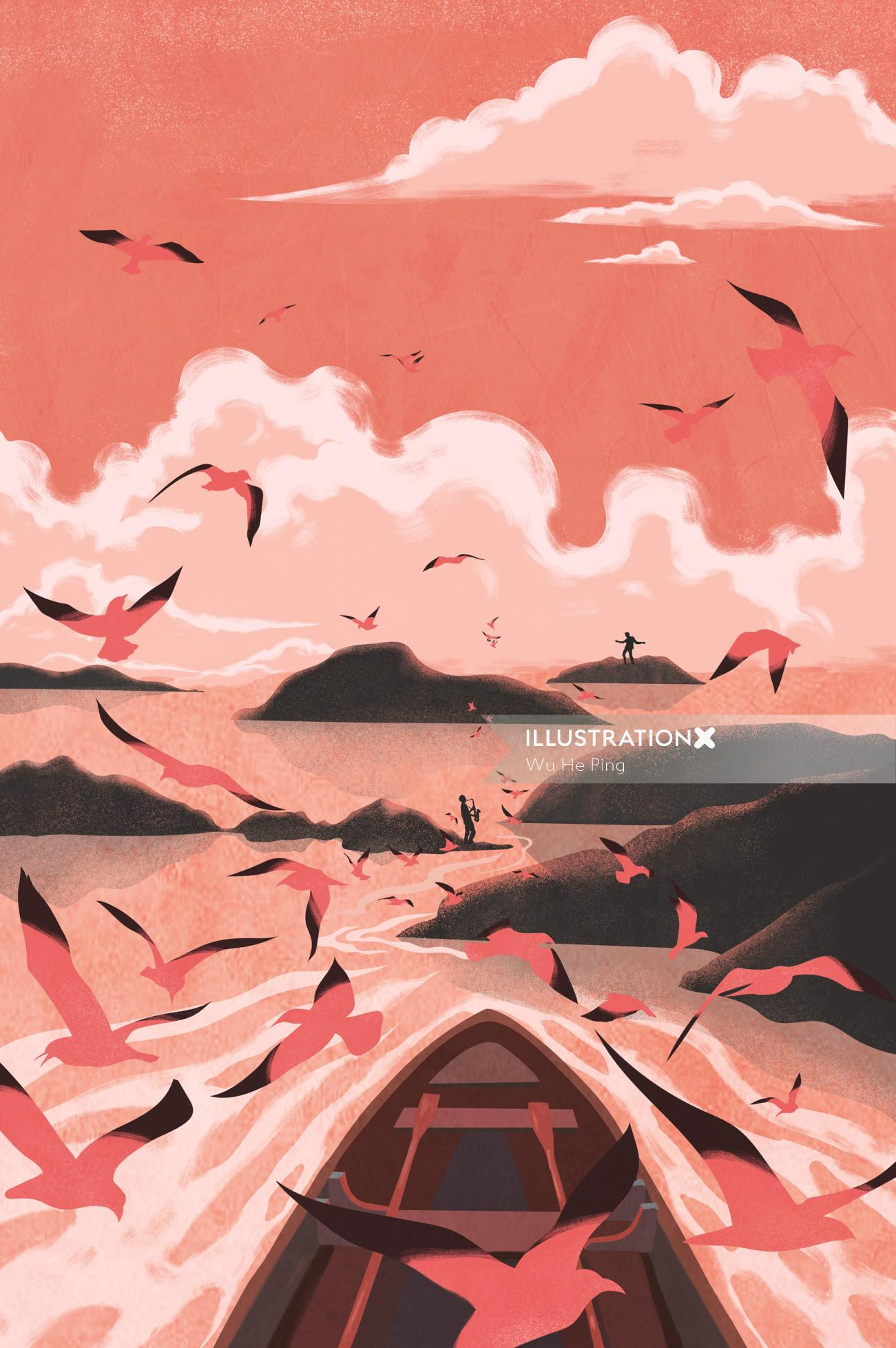 Nature filled with birds