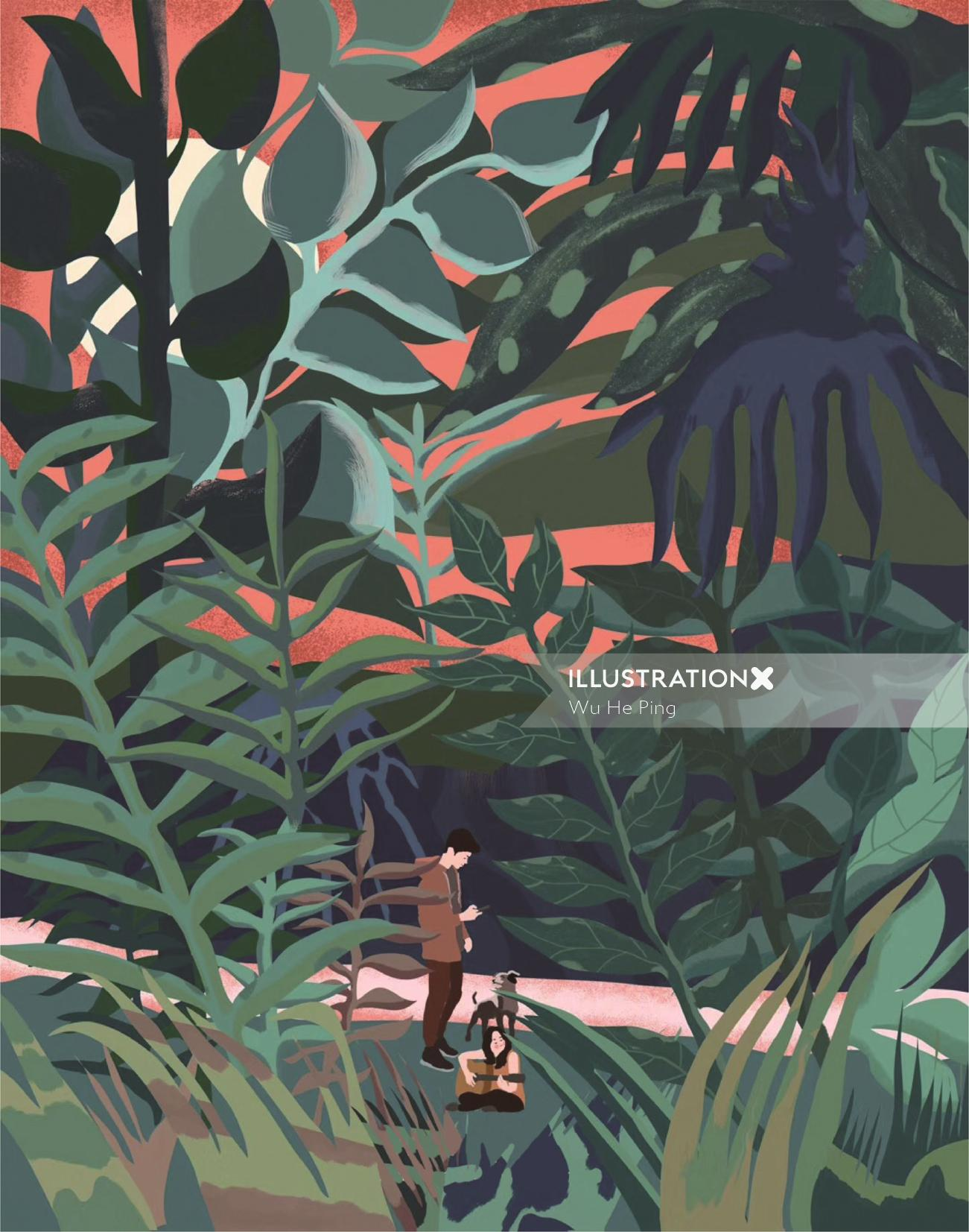 Graphical illustration of nature lovers