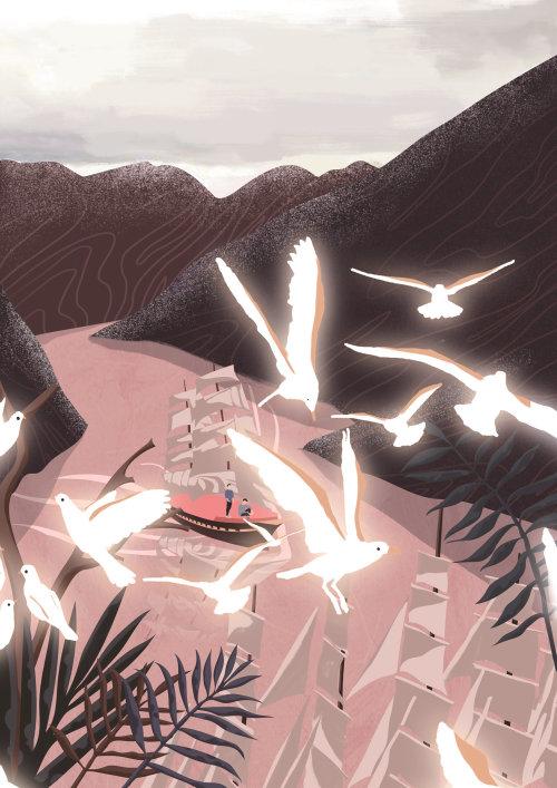 Pigeons flying at riverside digital painting