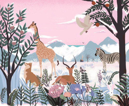 Wild animals areal-view