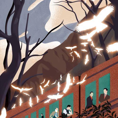 Birds near the train conceptual illustration