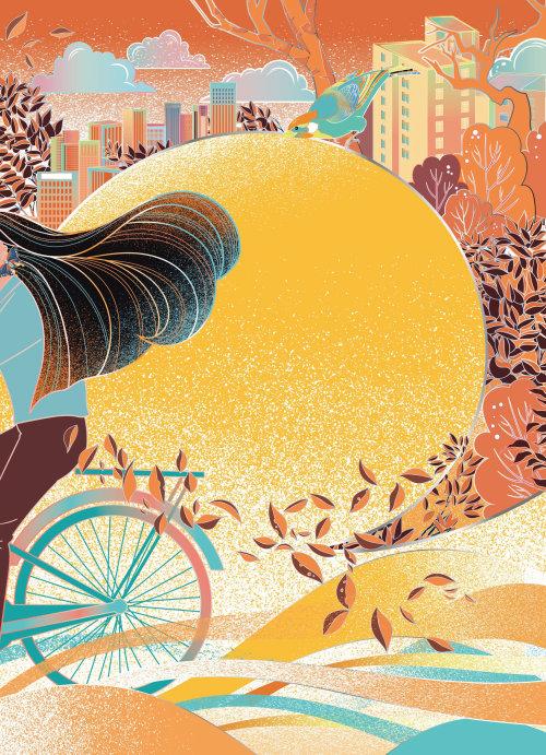 Woman on bicycle decorative illustration