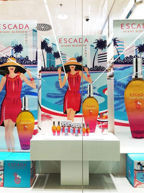 Vector illustration of women ESCADA cosmetics