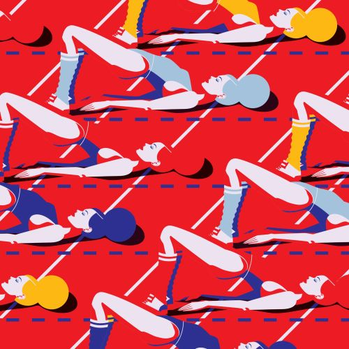 Vector illustration of girls doing yoga