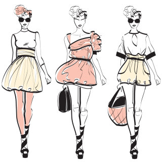 Illustration of female fashion model walking the ramp