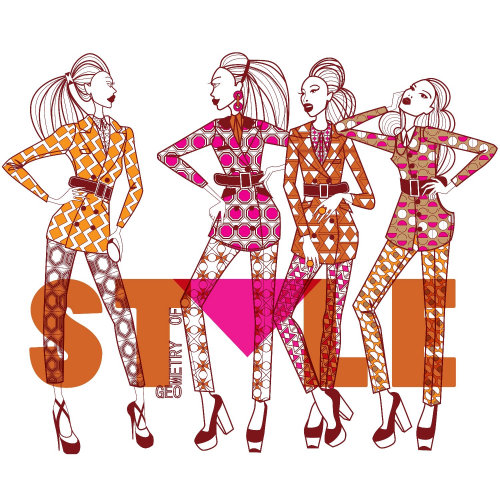 Illustration of fashionable girls