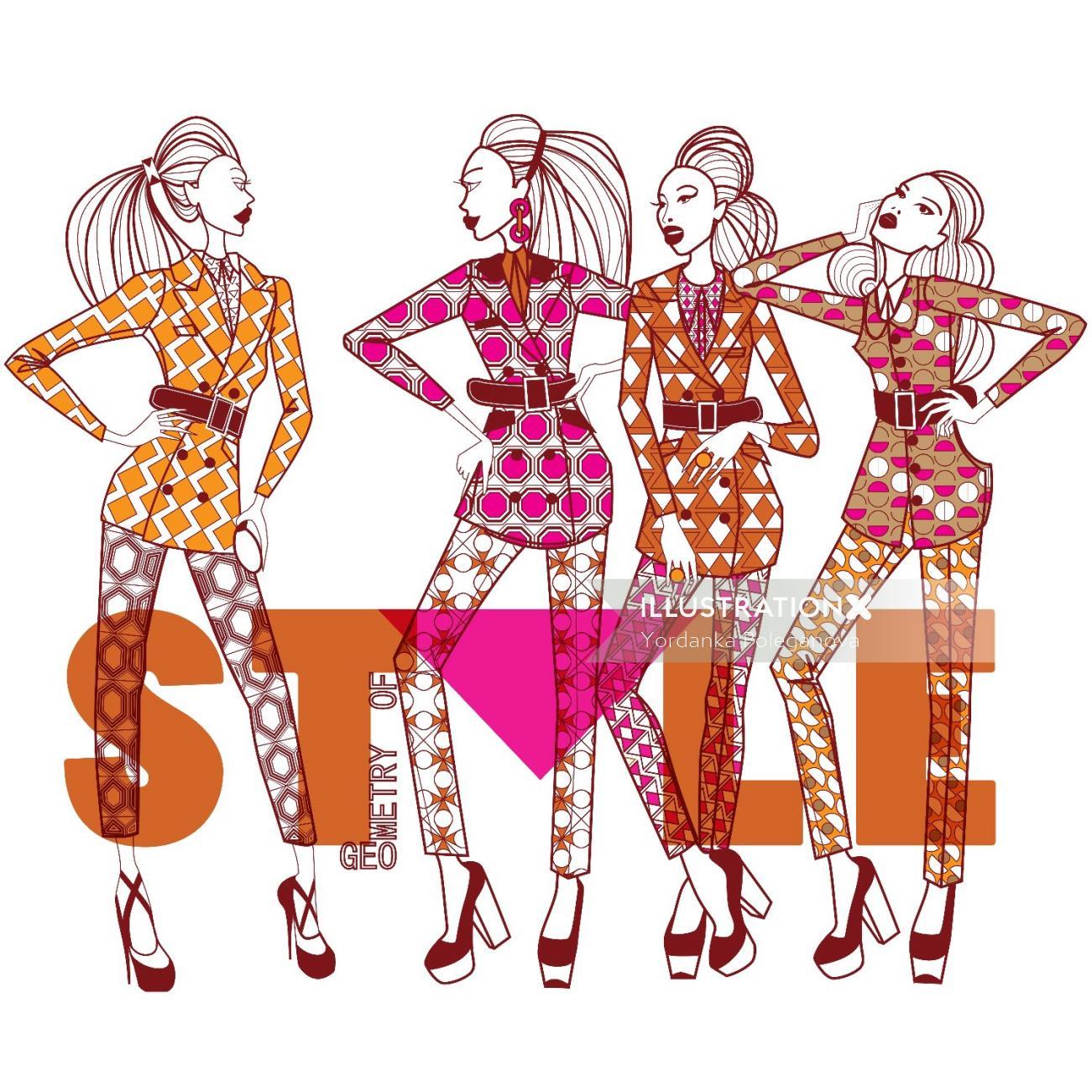Illustration of fashionable girls