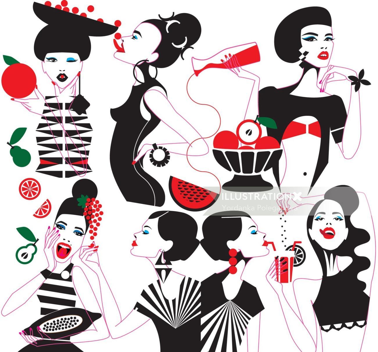 Illustration of fashion women