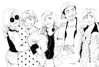 Black & white illustration of people