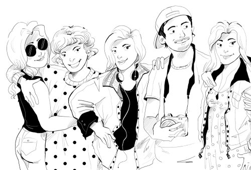 Black & white illustration of people