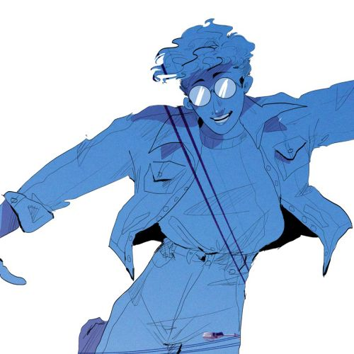 Line drawing of a man in blue colour