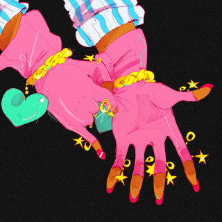 Female hands in gloves retro art