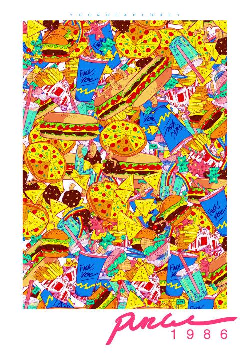 Food illustration of burger, pizza, drink