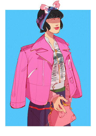 Retro fashion illustration of a lady