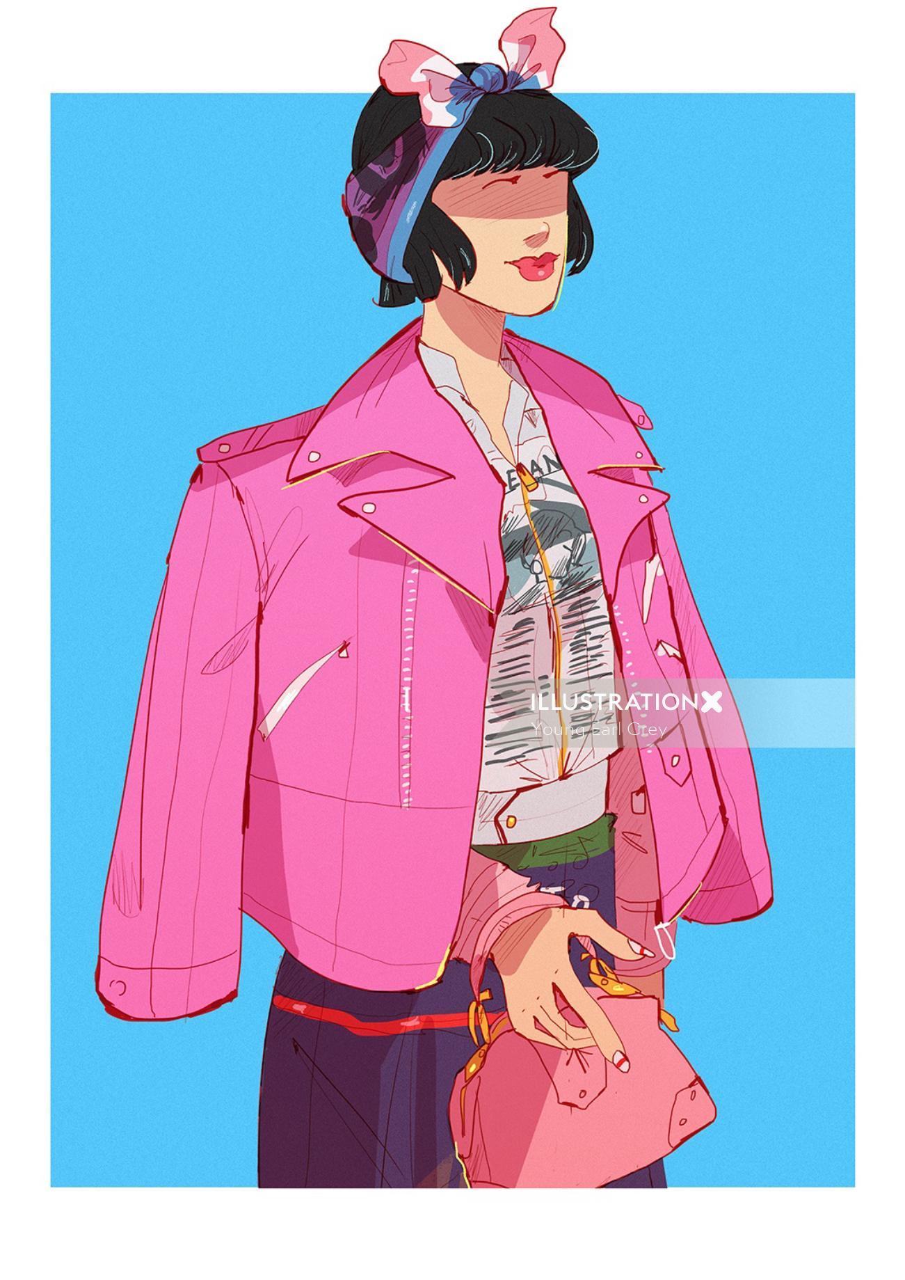 Retro fashion illustration of a lady