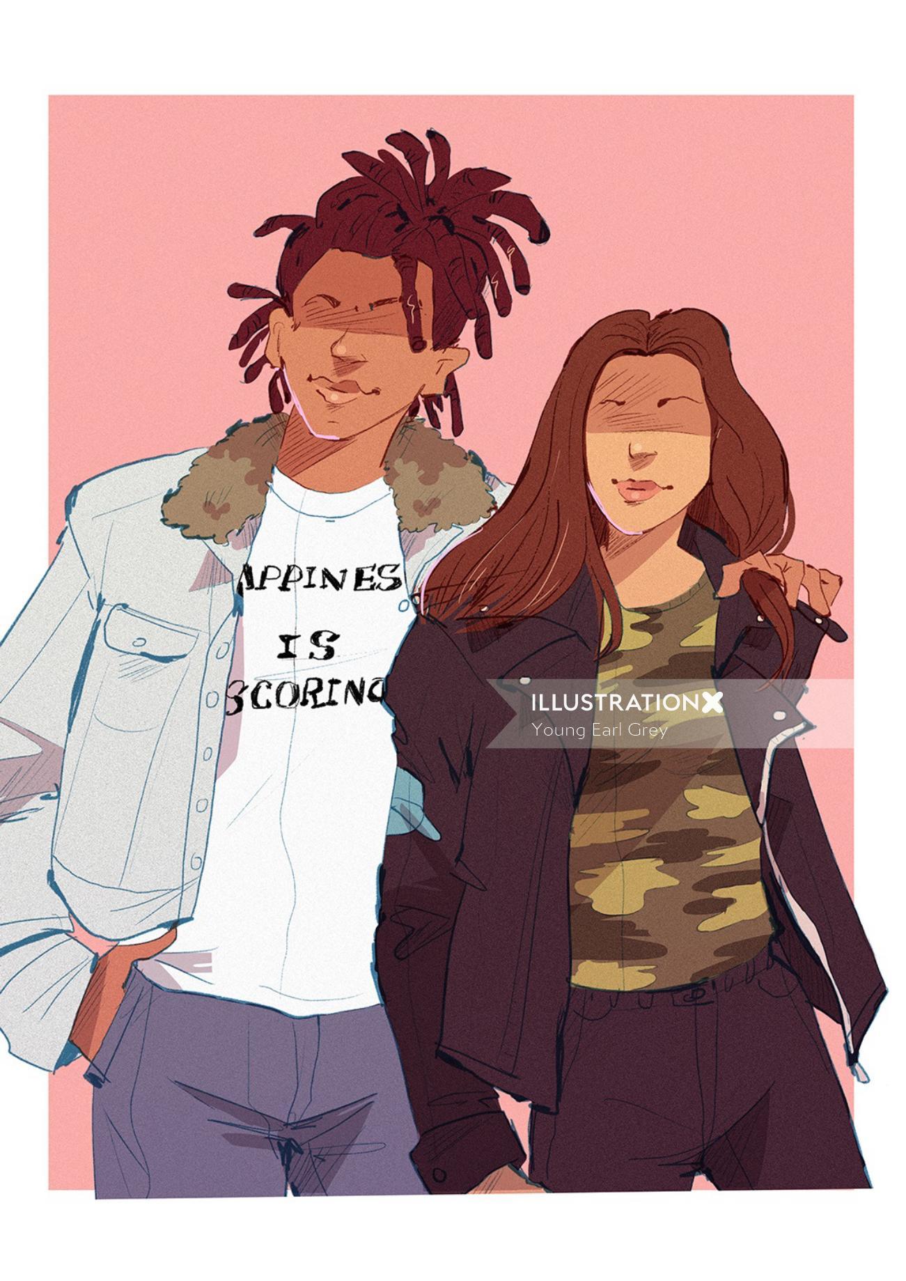 Pop art of couple
